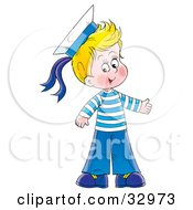 Happy Blond Boy Dressed In A Sailor Suit