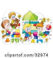 Happy Children Playing With Blocks And Teddy Bears Around A Sand Box