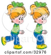Clipart Illustration Of Two Little Blond Girls Twins Running And Playing