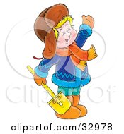Clipart Illustration Of A Friendly Boy In Winter Clothing Carrying A Shovel