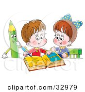 Clipart Illustration Of A Little Boy And Girl Studying Together A Green Colored Pencil Watching