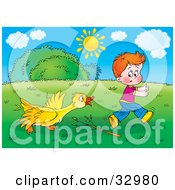 Clipart Illustration Of A Yellow Goose Turning On A Boy After Being Poked At With A Branch