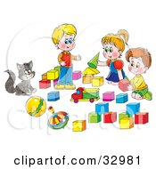 Clipart Illustration Of A Cat Watching Two Boys And A Girl Play With Blocks