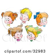 Clipart Illustration Of Happy Boys And Girls Giggling And Smiling