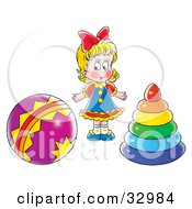 Clipart Illustration Of A Blond Girl Standing Between A Ball And Ring Toys