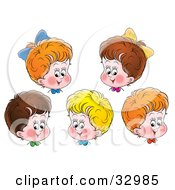 Clipart Illustration Of Five Happy Red Blond And Brunette Haired Children