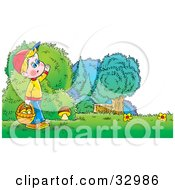 Clipart Illustration Of A Boy Carrying A Basket Full Of Mushrooms While Searching For While Mushrooms