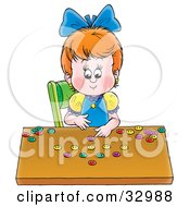 Clipart Illustration Of A Little Girl Counting The Buttons In Her Collection