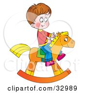Clipart Illustration Of A Happy Boy Riding On A Rocking Horse by Alex Bannykh