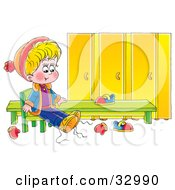 Clipart Illustration Of A Little Boy Putting His Shoes On In A Locker Room by Alex Bannykh