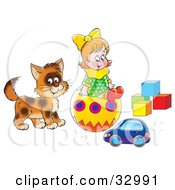 Little Girl And Cat Playing With A Toy Car Ball And Blocks