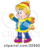Clipart Illustration Of A Friendly Boy Waving Wearing Winter Clothes