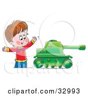 Happy Boy Playing With A Big Green Tank Toy