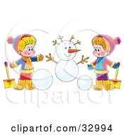 Clipart Illustration Of A Boy And Girl Holding Shovels And Making A Snowman