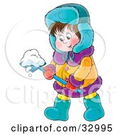 Clipart Illustration Of A Friendly Boy In Winter Clothing Moving Snow With A Shovel