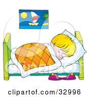 Clipart Illustration Of A Little Blond Boy Sound Asleep In His Bed by Alex Bannykh