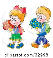Clipart Illustration Of A Little Boy And Girl Walking Home From School With Flowers