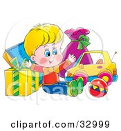 Clipart Illustration Of A Happy Birthday Boy With Gifts And Toys by Alex Bannykh