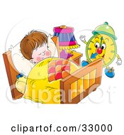 Clipart Illustration Of A Green Alarm Clock Preparing To Wake A Sleeping Boy