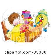Green Alarm Clock Preparing To Wake A Sleeping Boy