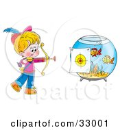 Clipart Illustration Of A Little Archer Boy Aiming At A Target On A Fish Bowl