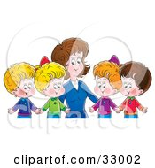 Clipart Illustration Of A Mother Or Teacher Standing Behind Four Children Holding Hands