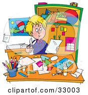 Blond Teen Boy Sitting At A Desk And Cutting Out Shapes