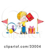 Clipart Illustration Of A Sporty Little Boy Holding Up A Book And Soccer Ball Surrounded By Sports Gifts