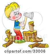 Clipart Illustration Of A Little Blond Boy Chopping Wood With An Ax by Alex Bannykh