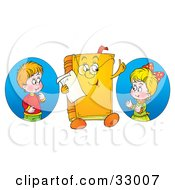 Clipart Illustration Of A Boy And Girl Looking At A Book Character Wearing Glasses