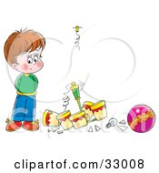 Clipart Illustration Of A Nervous Boy Standing By A Light He Broke By Playing With A Ball Inside by Alex Bannykh