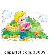 Clipart Illustration Of A Boy Playing With A Colorful Ball Outside by Alex Bannykh