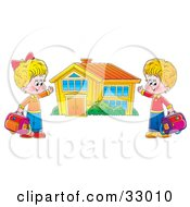 Clipart Illustration Of A Boy And Girl Holding Their Bags And Presenting Their School Building