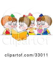 Clipart Illustration Of A Girl Reading A Book Out Loud To Her Friends