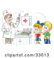 Clipart Illustration Of A Doctor Preparing A Syringe For Shots While A Boy And Girl Watch