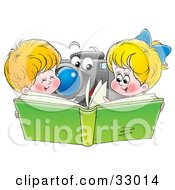 Clipart Illustration Of A Brother And Sister Looking Through A Green Photo Album A Camera In The Background