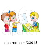 Clipart Illustration Of A Boy Sitting At A Desk While Other Children Admire An A On A Report Card