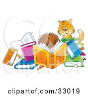 Clipart Illustration Of A Cat Watching A Boy Reading A Book Intently