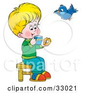 Clipart Illustration Of A Little Blond Boy Sipping Tea And Eating A Donut A Bird Flying By