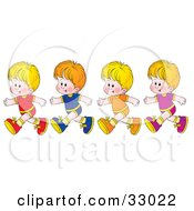 Clipart Illustration Of Four Blond Boys Running In A Line by Alex Bannykh