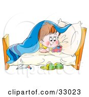 Clipart Illustration Of A Hyper Little Boy Playing Under His Blankets In His Bed