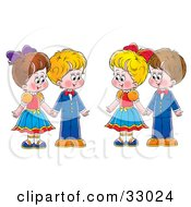 Clipart Illustration Of Two Couples Boys And Girls Holding Hands