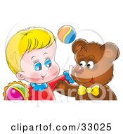 Clipart Illustration Of A Happy Boy And Bear Hugging by Alex Bannykh