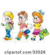 Clipart Illustration Of A Girl Walking With Two Boys On The Way To School