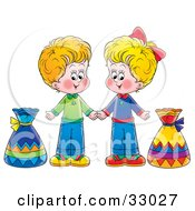 Clipart Illustration Of A Little Boy And Girl Holding Hands And Standing With Bags