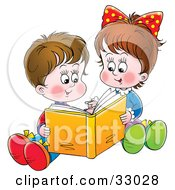 Clipart Illustration Of A Sister And Brother Sitting On The Ground And Reading A Book Together by Alex Bannykh #COLLC33028-0056