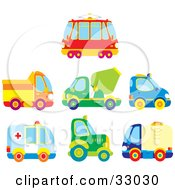 Clipart Illustration Of A Bus Dump Truck Cement Truck Police Car Ambulance Big Rig And Water Truck by Alex Bannykh