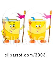 Clipart Illustration Of Two Yellow School Books With Flags