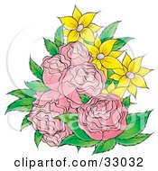 Clipart Illustration Of A Bouquet Of Pink Roses And Yellow Flowers