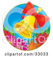 Clipart Illustration Of A Ringing Golden Bell With A Red Bow Over Colorful Flowers On A Blue Circle